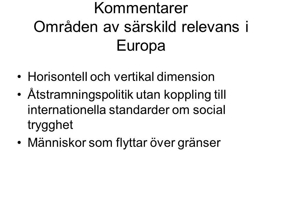 Kommentarer Områden av särskild relevans i Europa Horisontell och vertikal dimension Åtstramningspolitik utan koppling till internationella standarder