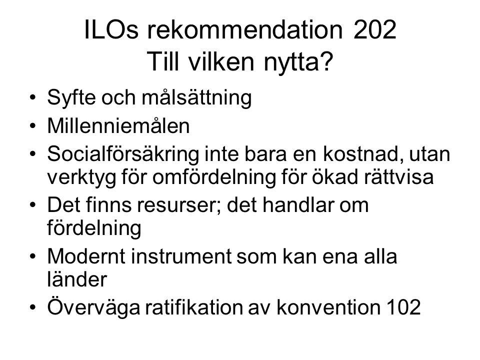 ILOs rekommendation 202 Till vilken nytta? Syfte och målsättning Millenniemålen Socialförsäkring inte bara en kostnad, utan verktyg för omfördelning f