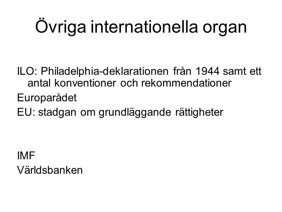 Övriga internationella organ ILO: Philadelphia-deklarationen från 1944 samt ett antal konventioner och rekommendationer Europarådet EU: stadgan om gru