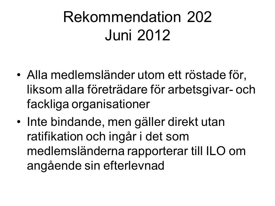 Rekommendation 202 Juni 2012 Alla medlemsländer utom ett röstade för, liksom alla företrädare för arbetsgivar- och fackliga organisationer Inte bindan