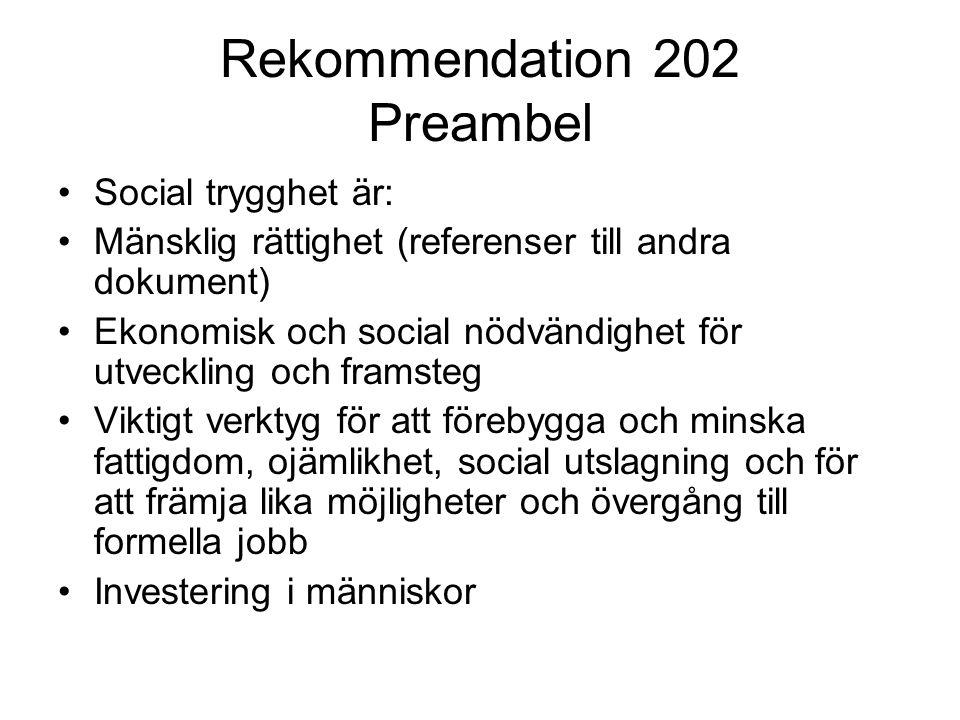 Rekommendation 202 Preambel Social trygghet är: Mänsklig rättighet (referenser till andra dokument) Ekonomisk och social nödvändighet för utveckling o