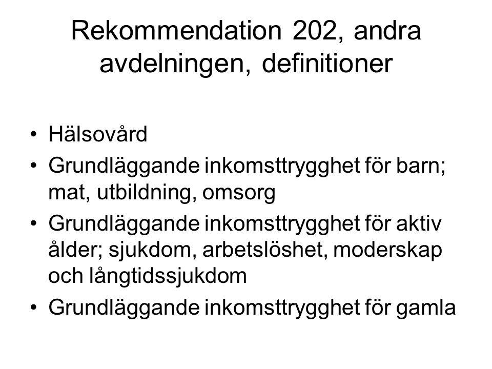 Rekommendation 202, andra avdelningen, definitioner Hälsovård Grundläggande inkomsttrygghet för barn; mat, utbildning, omsorg Grundläggande inkomsttry