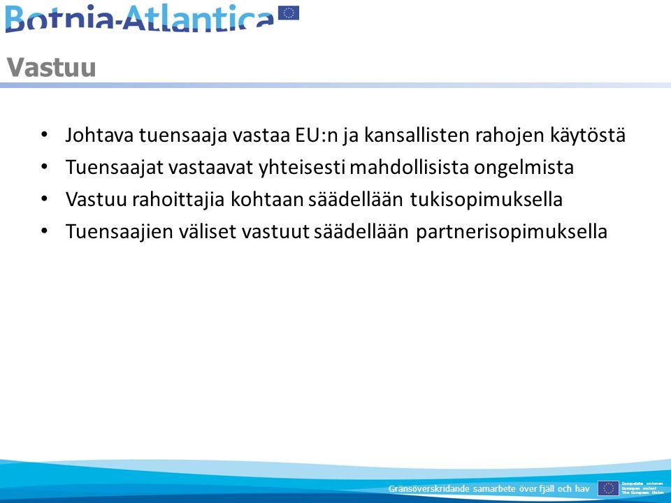 Johtava tuensaaja vastaa EU:n ja kansallisten rahojen käytöstä Tuensaajat vastaavat yhteisesti mahdollisista ongelmista Vastuu rahoittajia kohtaan sää
