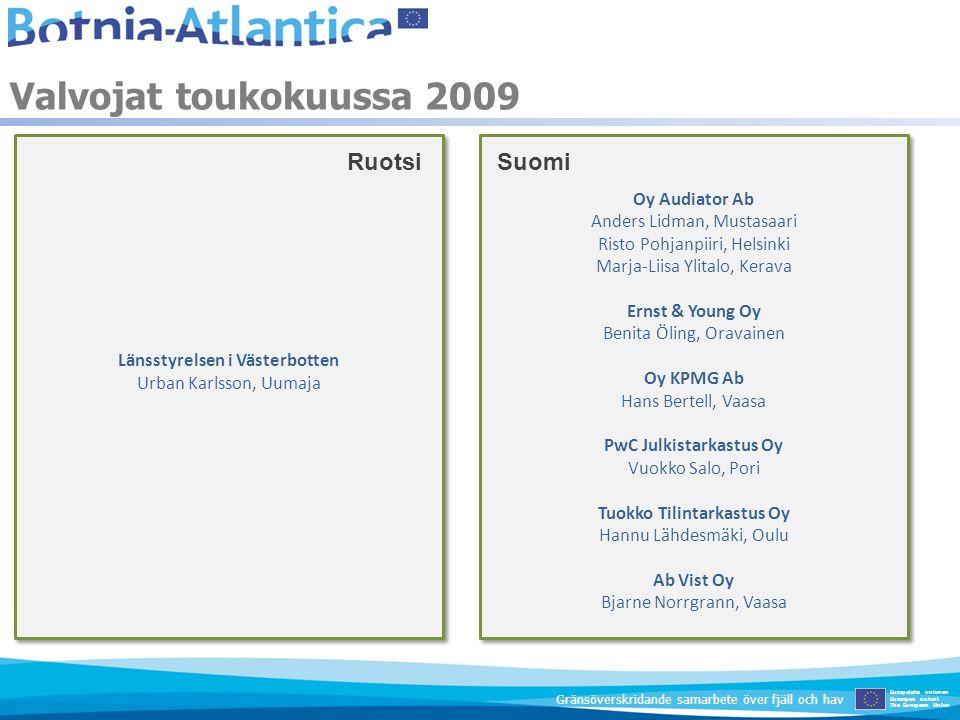 Valvojat toukokuussa 2009 Europeiska unionen Euroopan unioni The European Union Gränsöverskridande samarbete över fjäll och hav Länsstyrelsen i Väster