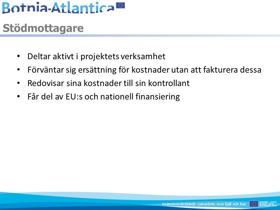Samordnande stödmottagaren ansvarar för EU-medlens användning Stödmottagarna ansvarar solidariskt för problem som uppstår Stödavtal reglerar ansvaret mot finansiärer Partnersavtal reglerar ansvaret mellan stödmottagarna Ansvar Europeiska unionen Euroopan unioni The European Union Gränsöverskridande samarbete över fjäll och hav