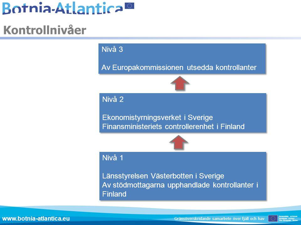 Nivå 3 Av Europakommissionen utsedda kontrollanter Nivå 3 Av Europakommissionen utsedda kontrollanter Nivå 2 Ekonomistyrningsverket i Sverige Finansmi