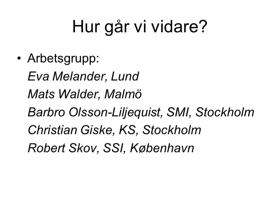 Hur går vi vidare? Arbetsgrupp: Eva Melander, Lund Mats Walder, Malmö Barbro Olsson-Liljequist, SMI, Stockholm Christian Giske, KS, Stockholm Robert S