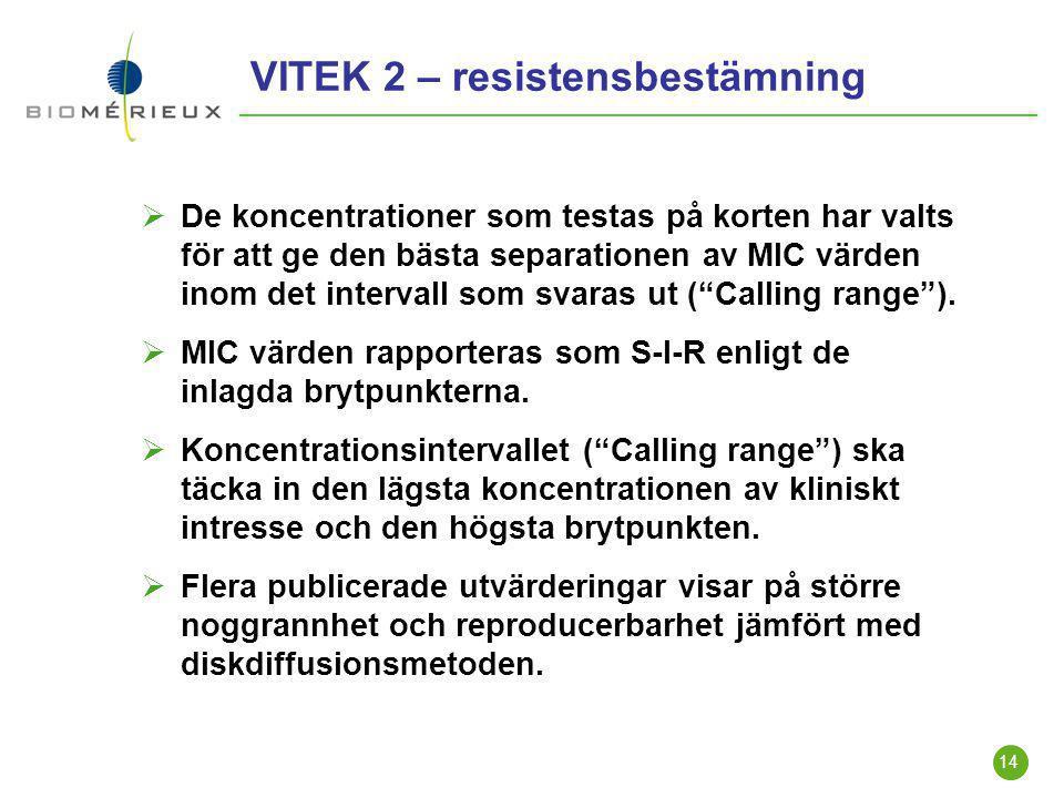 14 VITEK 2 – resistensbestämning  De koncentrationer som testas på korten har valts för att ge den bästa separationen av MIC värden inom det interval