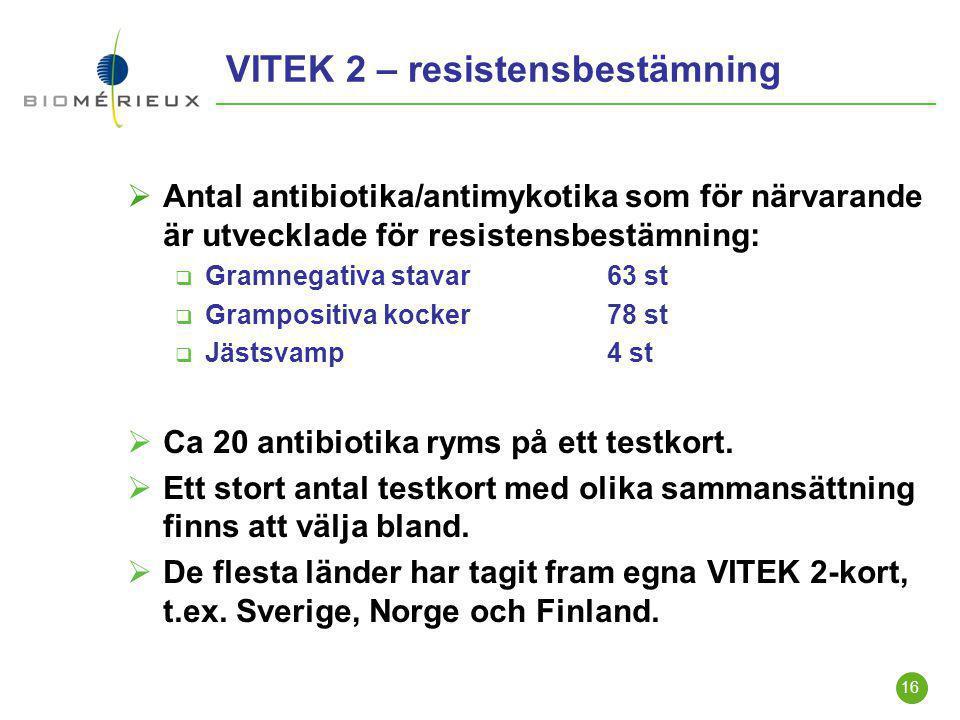 16 VITEK 2 – resistensbestämning  Antal antibiotika/antimykotika som för närvarande är utvecklade för resistensbestämning:  Gramnegativa stavar63 st