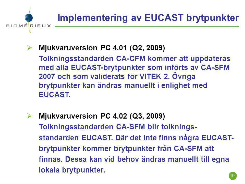 19 Implementering av EUCAST brytpunkter  Mjukvaruversion PC 4.01 (Q2, 2009) Tolkningsstandarden CA-CFM kommer att uppdateras med alla EUCAST-brytpunk