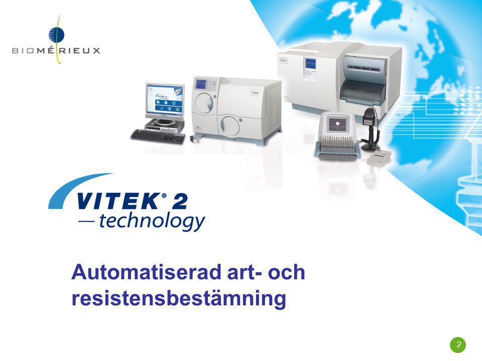 3 VITEK 2 användare i Norden  Sverige: 13 av 29 lab(45%)  Danmark: 13 av 14 lab(93%)  Norge:12 av 20 lab (60%)  Finland9 av 27 lab (33%)  Norden 47 av 90 lab (52%)