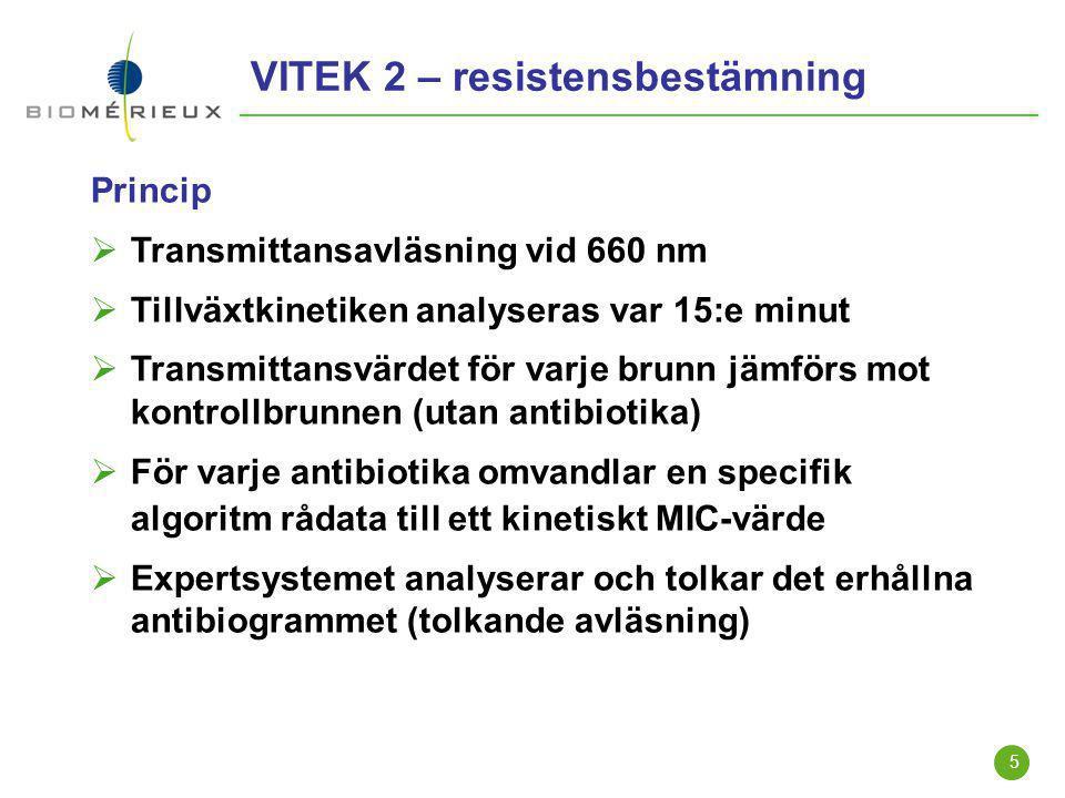 5 VITEK 2 – resistensbestämning Princip  Transmittansavläsning vid 660 nm  Tillväxtkinetiken analyseras var 15:e minut  Transmittansvärdet för varj