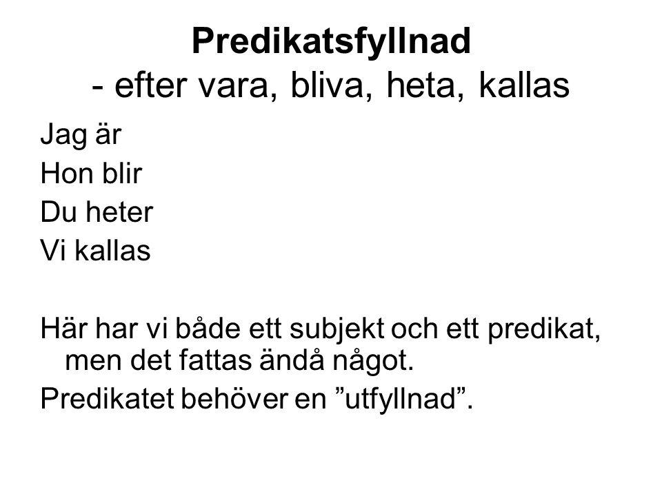 Jag är glad/arg/trött/ledig/upptagen Hon blir sjuk/frisk/arg/femton/stark Du heter Kalle/Lisa/Svensson Han kallas Nisse/Bosse/proffset Det man är, blir, heter eller kallas = predikatsfyllnad