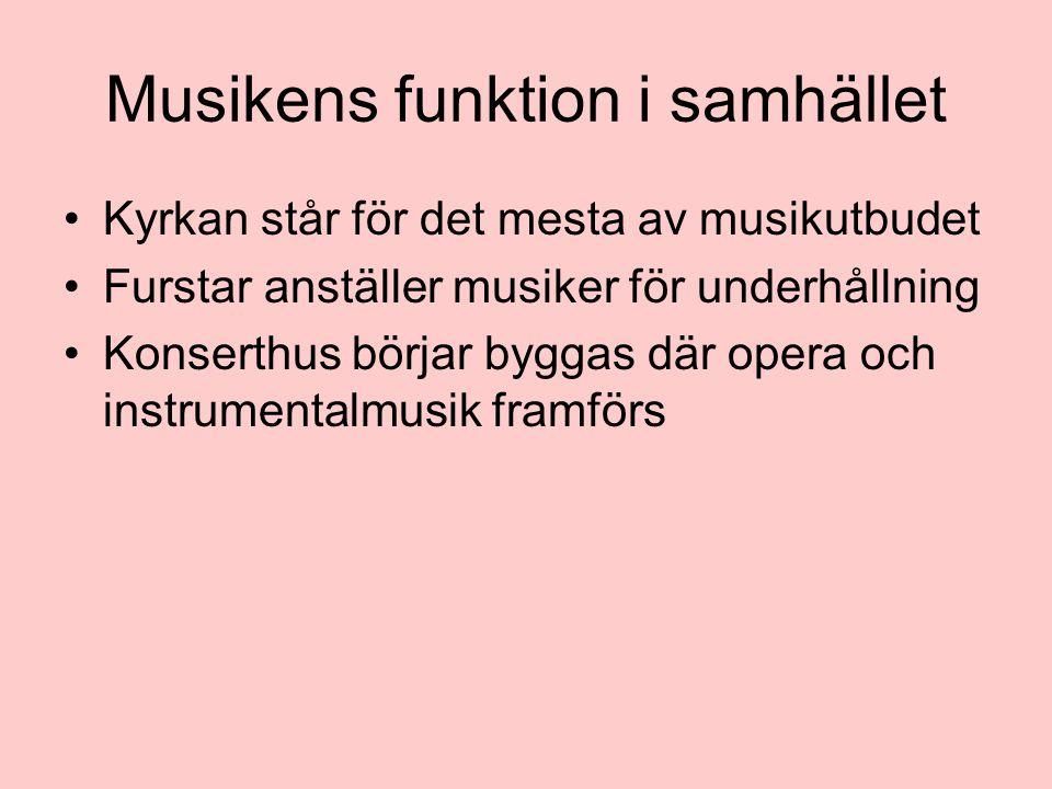 Musikens funktion i samhället Kyrkan står för det mesta av musikutbudet Furstar anställer musiker för underhållning Konserthus börjar byggas där opera