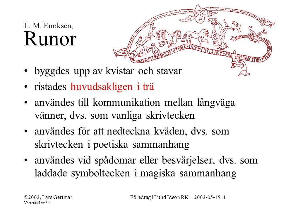 ©2003, Lars Gertmar Västerås/Lund 4 Föredrag i Lund Ideon RK 2003-05-15 4 L.