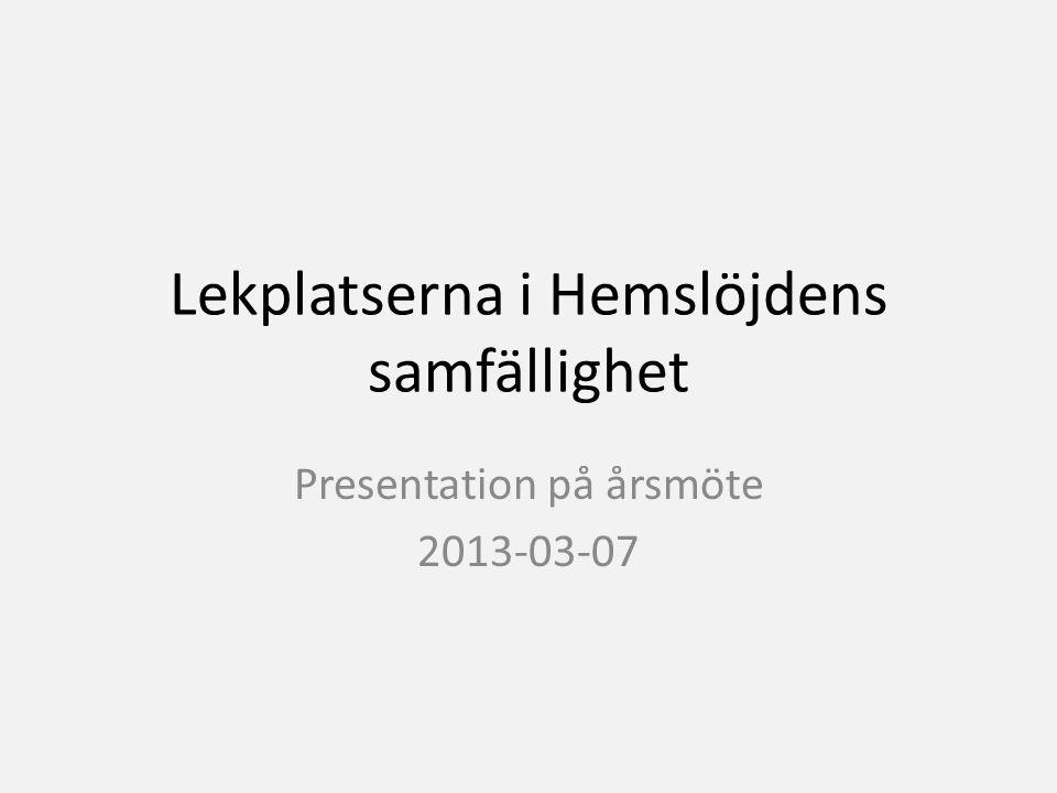 Lekplatserna i Hemslöjdens samfällighet Presentation på årsmöte 2013-03-07