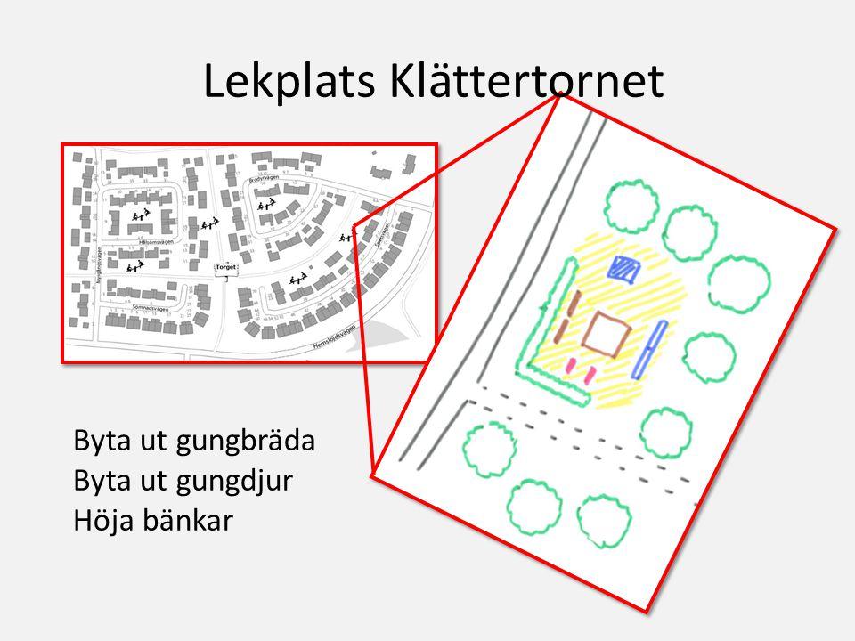 Byta ut gungbräda Byta ut gungdjur Höja bänkar Lekplats Klättertornet