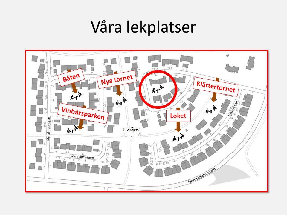 Våra lekplatser Båten Nya tornet Klättertornet Loket Vinbärsparken