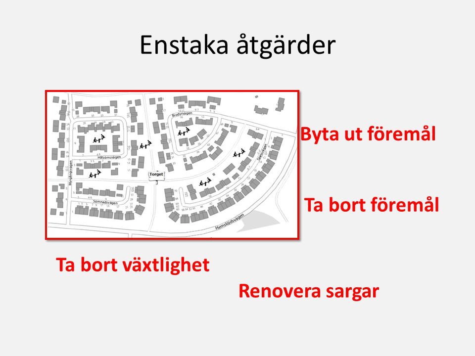 Enstaka åtgärder Byta ut föremål Ta bort föremål Renovera sargar Ta bort växtlighet
