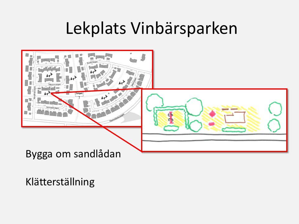Lekplats Vinbärsparken Bygga om sandlådan Klätterställning
