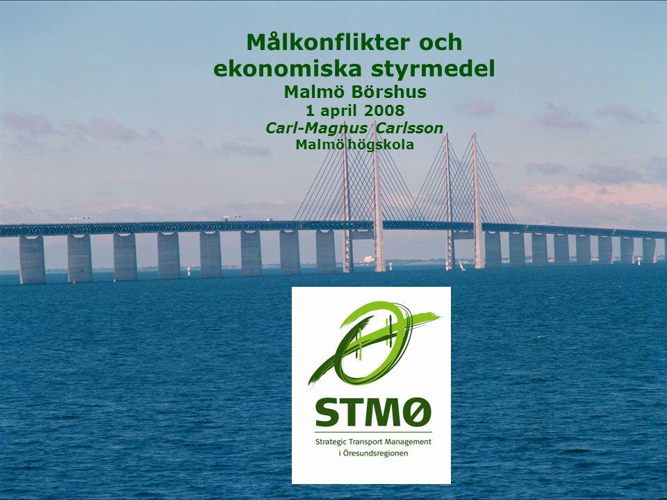 Målkonflikter och ekonomiska styrmedel Malmö Börshus 1 april 2008 Carl-Magnus Carlsson Malmö högskola