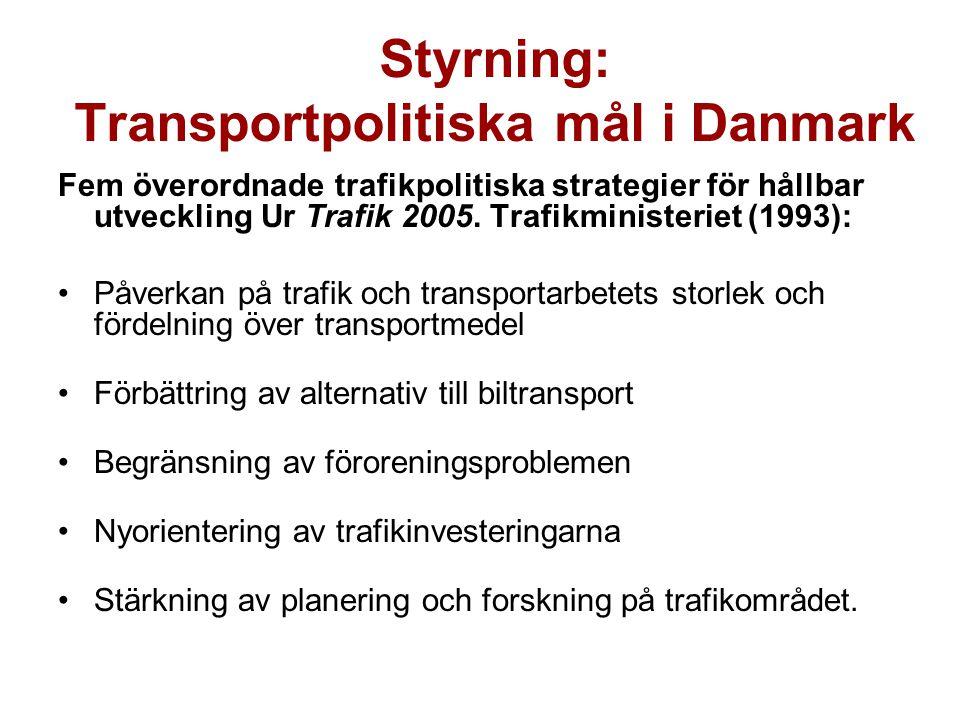 Styrning: Transportpolitiska mål i Danmark Fem överordnade trafikpolitiska strategier för hållbar utveckling Ur Trafik 2005.