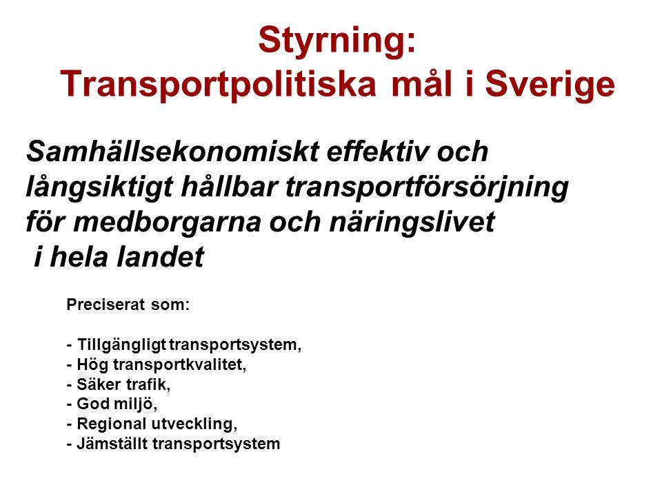 Samhällsekonomiskt effektiv och långsiktigt hållbar transportförsörjning för medborgarna och näringslivet i hela landet Styrning: Transportpolitiska mål i Sverige Preciserat som: - Tillgängligt transportsystem, - Hög transportkvalitet, - Säker trafik, - God miljö, - Regional utveckling, - Jämställt transportsystem