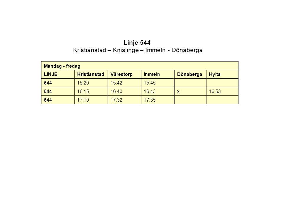 Linje 544 Kristianstad – Knislinge – Immeln - Dönaberga Måndag - fredag LINJEKristianstadVärestorpImmelnDönabergaHylta 54415.2015.4215.45 54416.1516.4016.43x16.53 54417.1017.3217.35