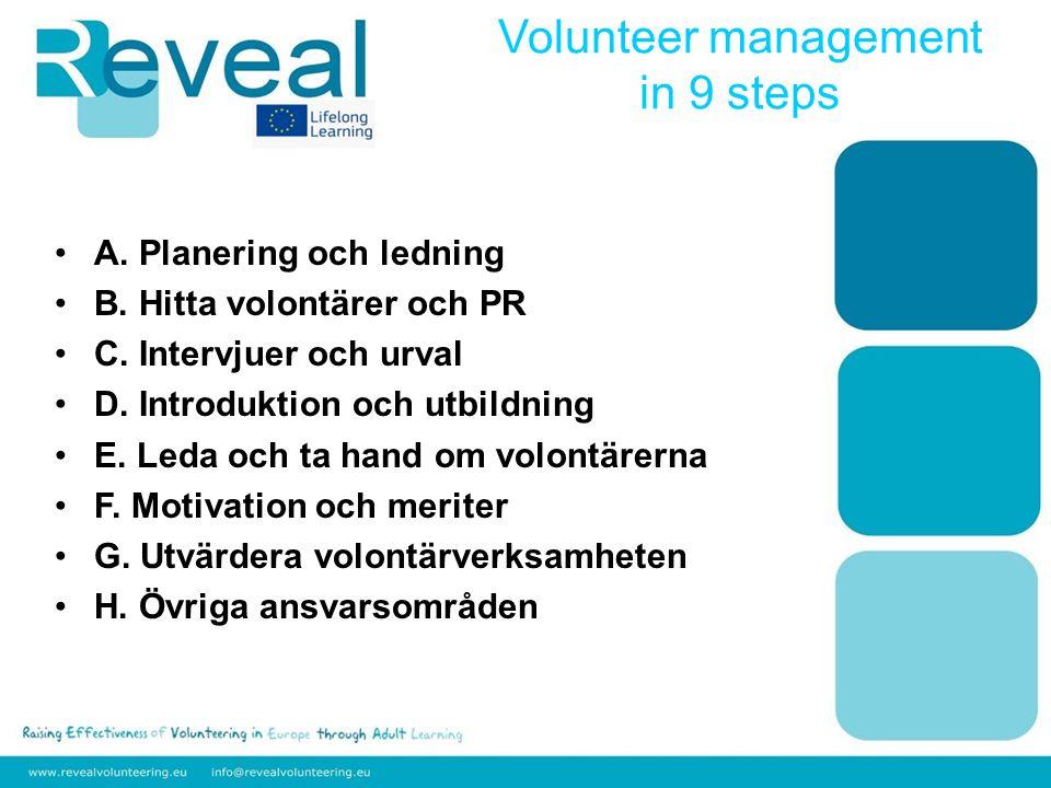 A. Planering och ledning B. Hitta volontärer och PR C.