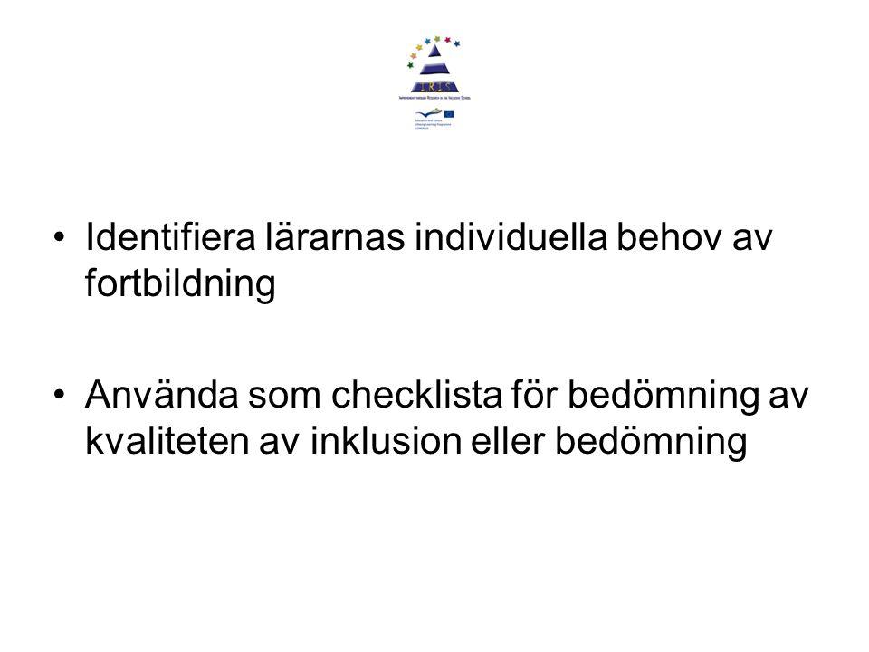 Identifiera lärarnas individuella behov av fortbildning Använda som checklista för bedömning av kvaliteten av inklusion eller bedömning