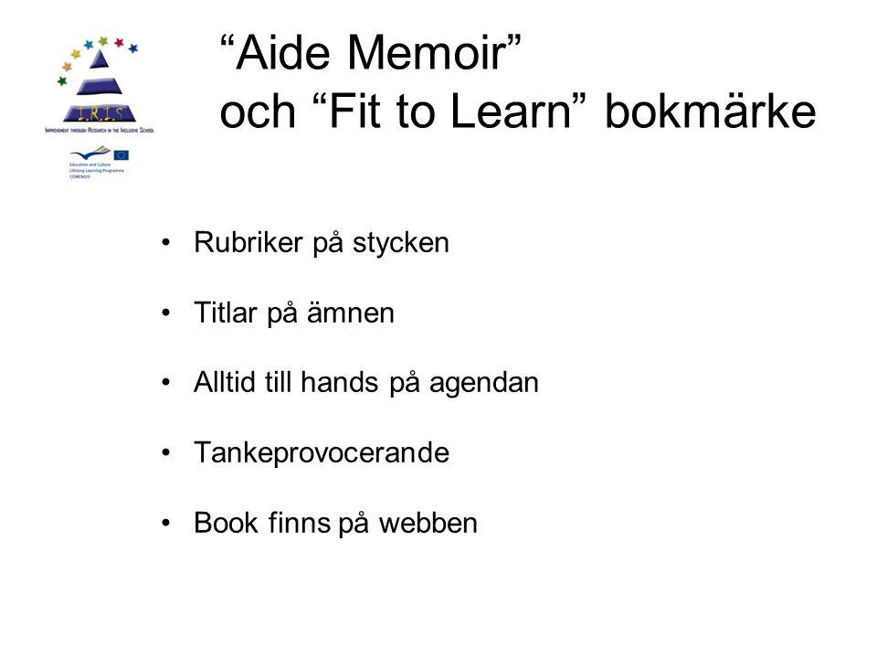 Aide Memoir och Fit to Learn bokmärke Rubriker på stycken Titlar på ämnen Alltid till hands på agendan Tankeprovocerande Book finns på webben