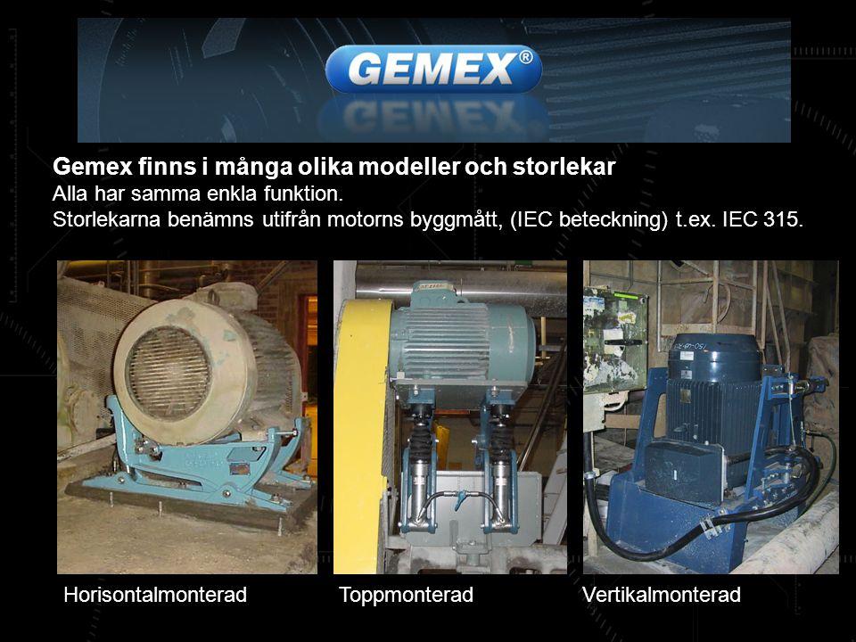 Gemex finns i många olika modeller och storlekar Alla har samma enkla funktion. Storlekarna benämns utifrån motorns byggmått, (IEC beteckning) t.ex. I