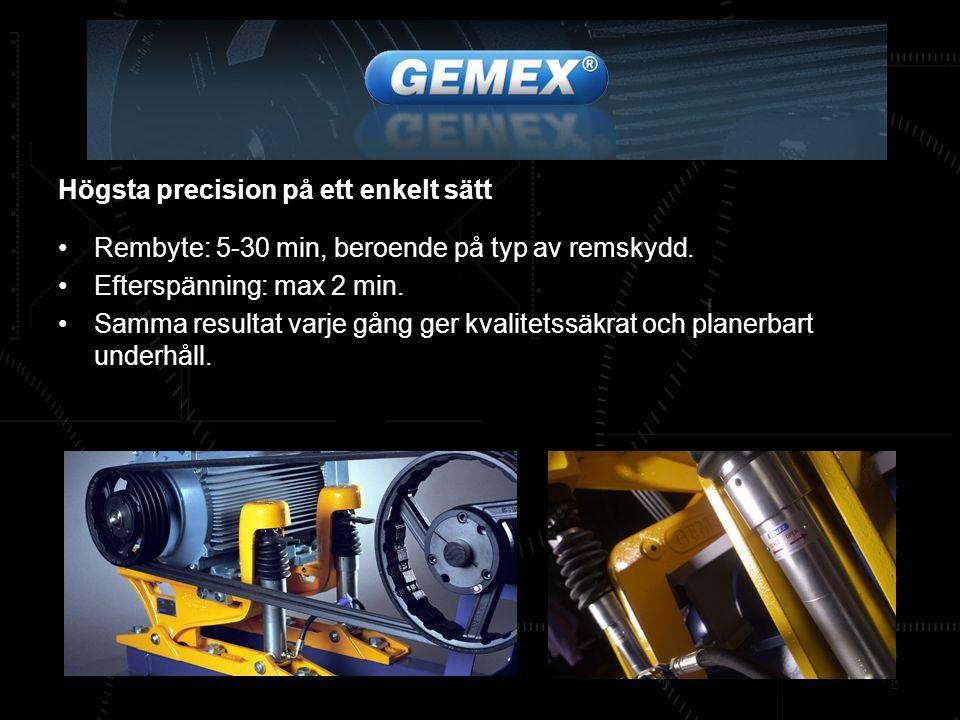 Högsta precision på ett enkelt sätt Rembyte: 5-30 min, beroende på typ av remskydd. Efterspänning: max 2 min. Samma resultat varje gång ger kvalitetss