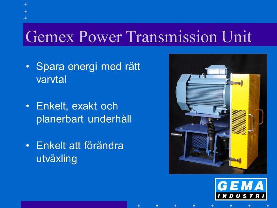 Gemex Power Transmission Unit Spara energi med rätt varvtal Enkelt, exakt och planerbart underhåll Enkelt att förändra utväxling