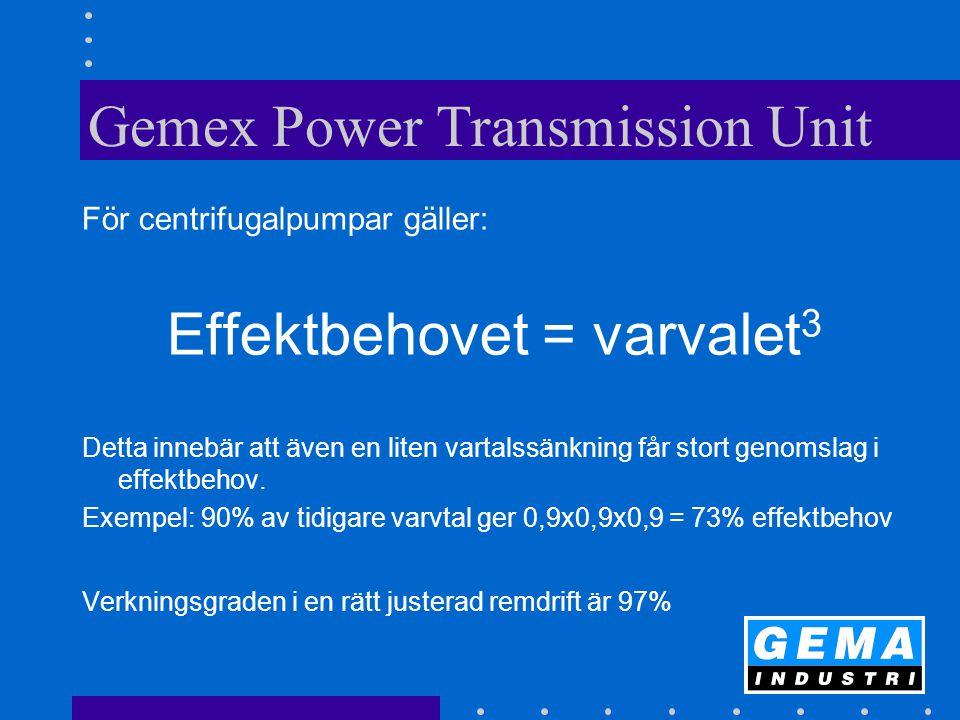 Gemex Power Transmission Unit För centrifugalpumpar gäller: Effektbehovet = varvalet 3 Detta innebär att även en liten vartalssänkning får stort genomslag i effektbehov.
