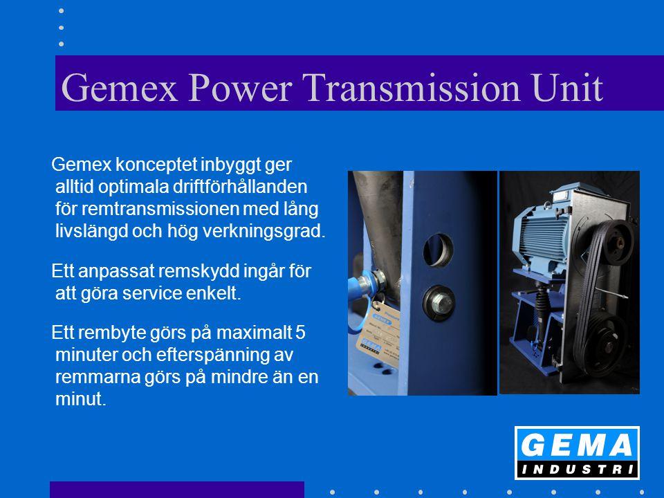 Gemex Power Transmission Unit Gemex konceptet inbyggt ger alltid optimala driftförhållanden för remtransmissionen med lång livslängd och hög verkningsgrad.