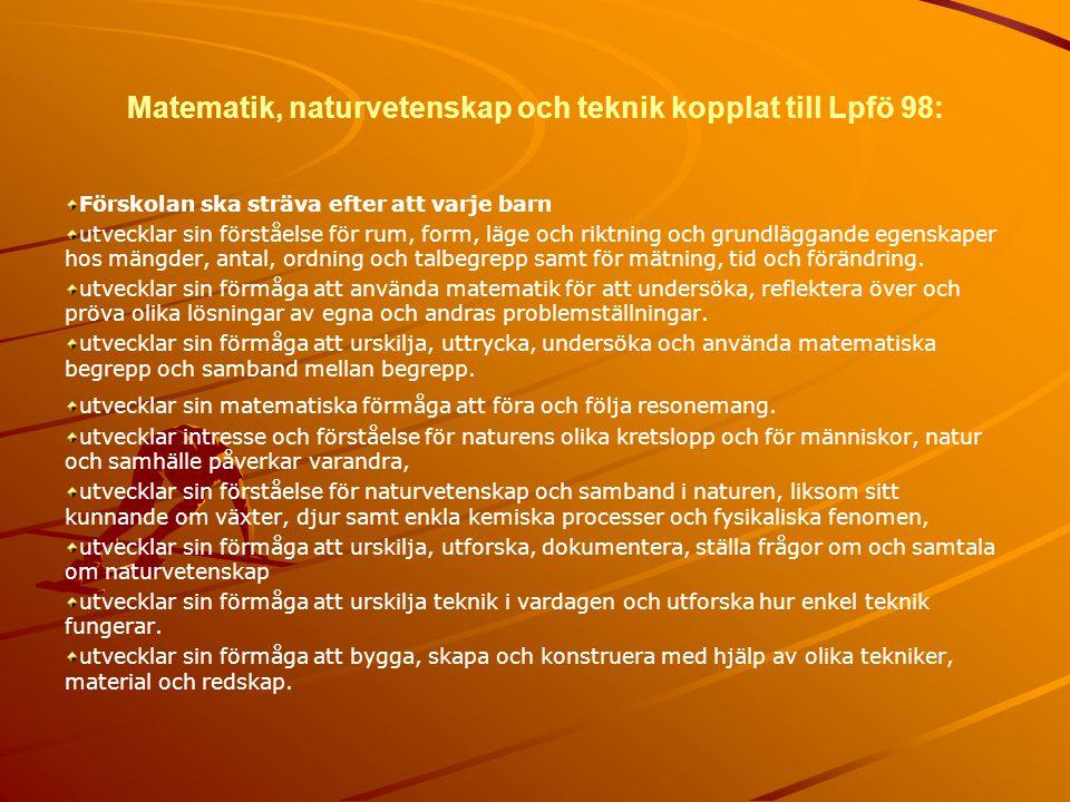 Matematik, naturvetenskap och teknik kopplat till Lpfö 98: Förskolan ska sträva efter att varje barn utvecklar sin förståelse för rum, form, läge och