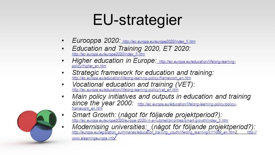 EU-strategier Eurooppa 2020: http://ec.europa.eu/europe2020/index_fi.htm http://ec.europa.eu/europe2020/index_fi.htm Education and Training 2020, ET 2