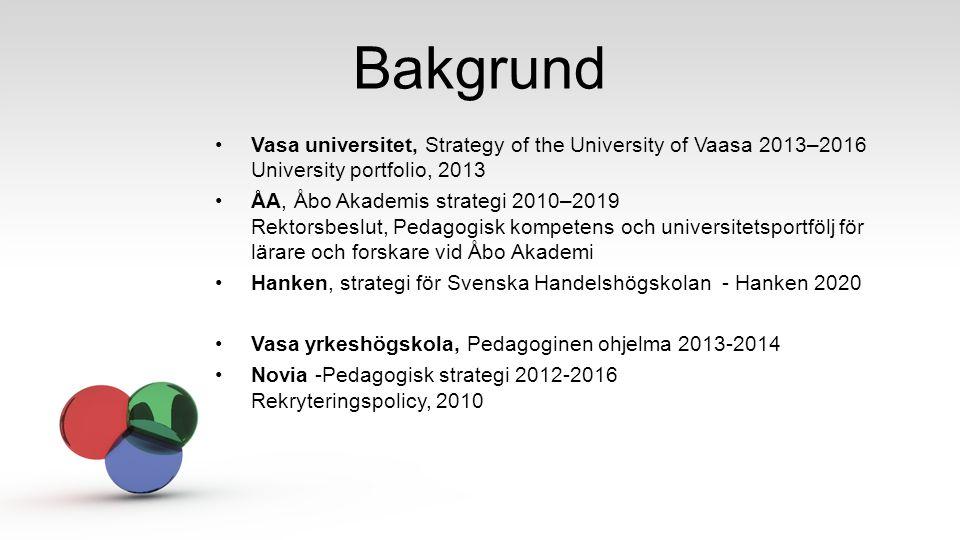 Bakgrund Vasa universitet, Strategy of the University of Vaasa 2013–2016 University portfolio, 2013 ÅA, Åbo Akademis strategi 2010–2019 Rektorsbeslut,