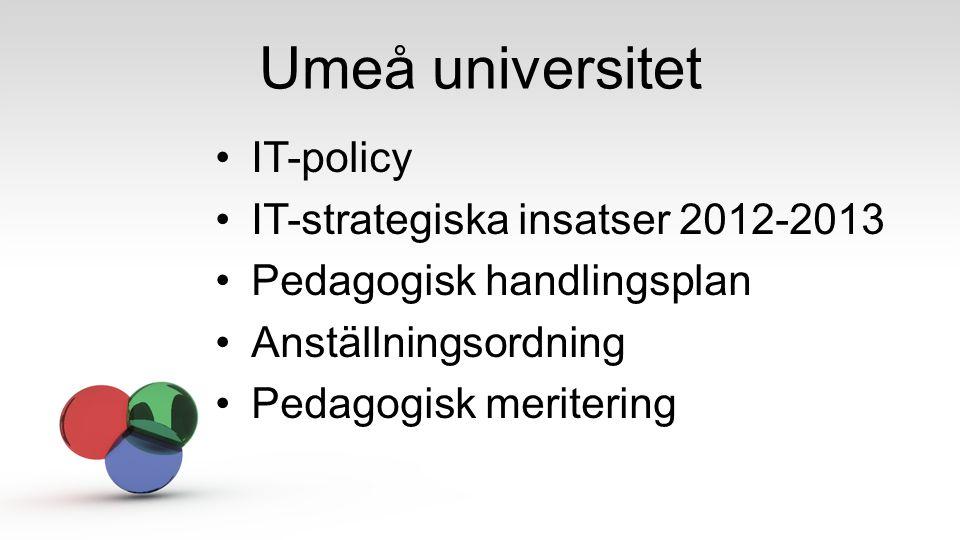 Umeå universitet IT-policy IT-strategiska insatser 2012-2013 Pedagogisk handlingsplan Anställningsordning Pedagogisk meritering