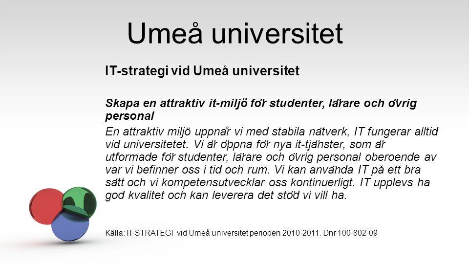 Umeå universitet IT-strategi vid Umeå universitet Skapa en attraktiv it-miljö fo ̈ r studenter, la ̈ rare och o ̈ vrig personal En attraktiv miljö upp