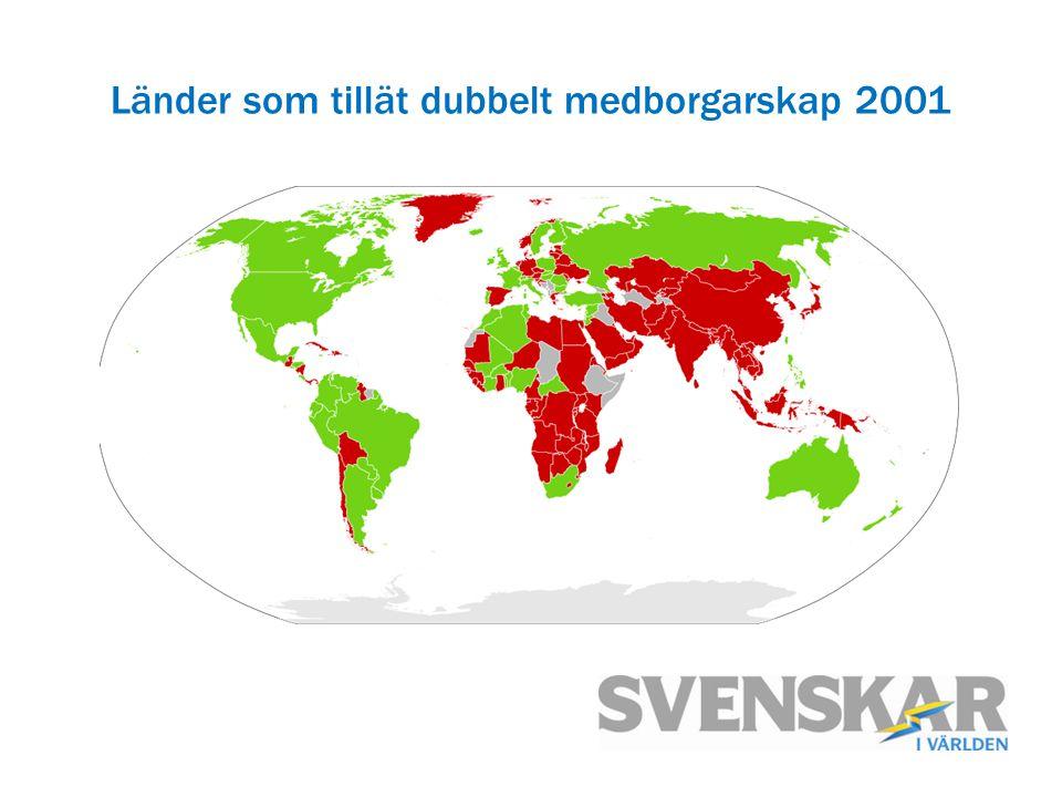 Länder som tillät dubbelt medborgarskap 2001