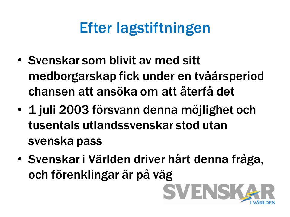 Efter lagstiftningen Svenskar som blivit av med sitt medborgarskap fick under en tvåårsperiod chansen att ansöka om att återfå det 1 juli 2003 försvan