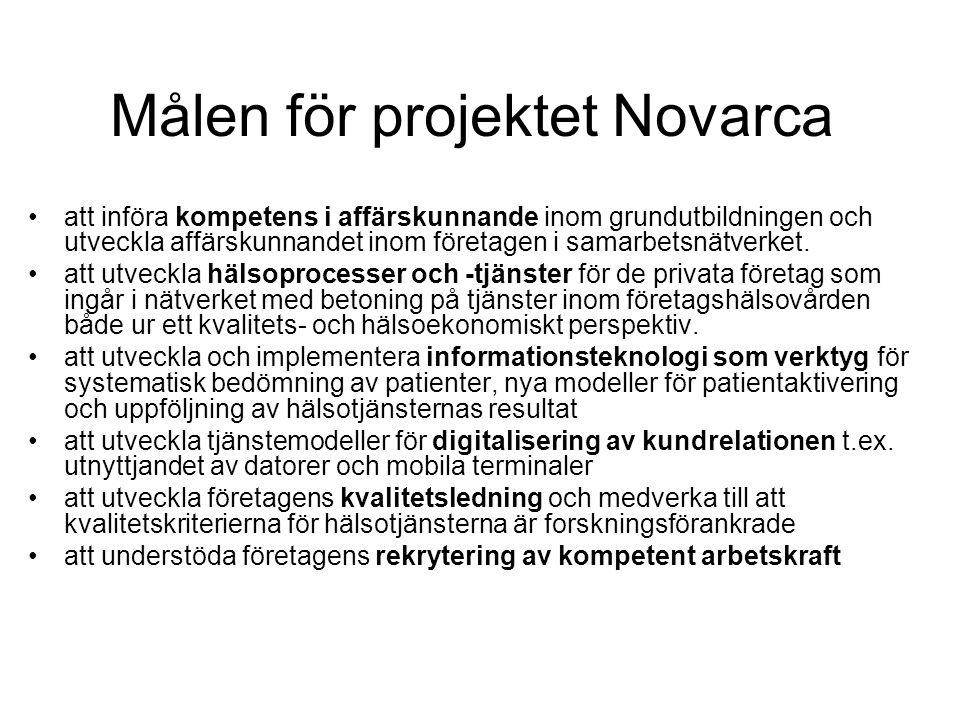 Målen för projektet Novarca att införa kompetens i affärskunnande inom grundutbildningen och utveckla affärskunnandet inom företagen i samarbetsnätverket.