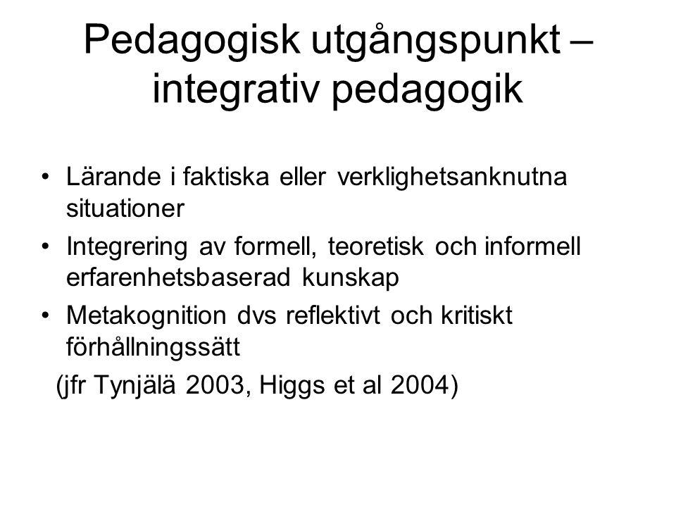Pedagogisk utgångspunkt – integrativ pedagogik Lärande i faktiska eller verklighetsanknutna situationer Integrering av formell, teoretisk och informell erfarenhetsbaserad kunskap Metakognition dvs reflektivt och kritiskt förhållningssätt (jfr Tynjälä 2003, Higgs et al 2004)