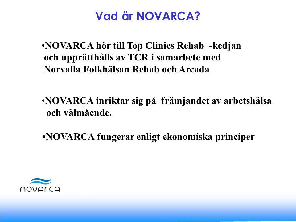 NOVARCA hör till Top Clinics Rehab -kedjan och upprätthålls av TCR i samarbete med Norvalla Folkhälsan Rehab och Arcada NOVARCA inriktar sig på främjandet av arbetshälsa och välmående.