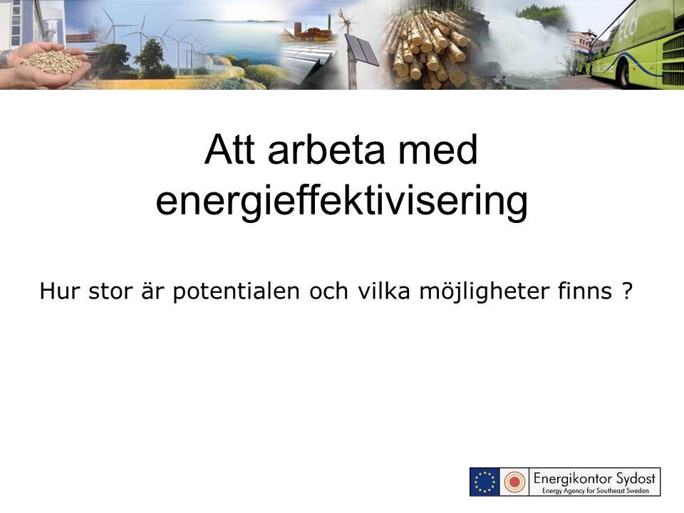 Områden att arbeta inom: Energieffektivisering i offentliga byggnader Energieffektivisering i flerbostadshus Energieffektivisering i företag