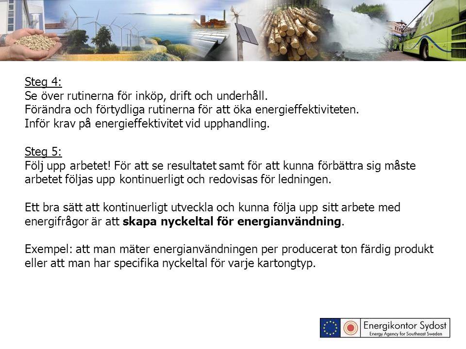 Steg 4: Se över rutinerna för inköp, drift och underhåll. Förändra och förtydliga rutinerna för att öka energieffektiviteten. Inför krav på energieffe