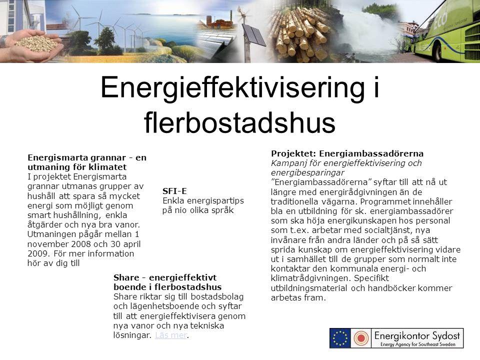 Energieffektivisering i flerbostadshus Energismarta grannar - en utmaning för klimatet I projektet Energismarta grannar utmanas grupper av hushåll att