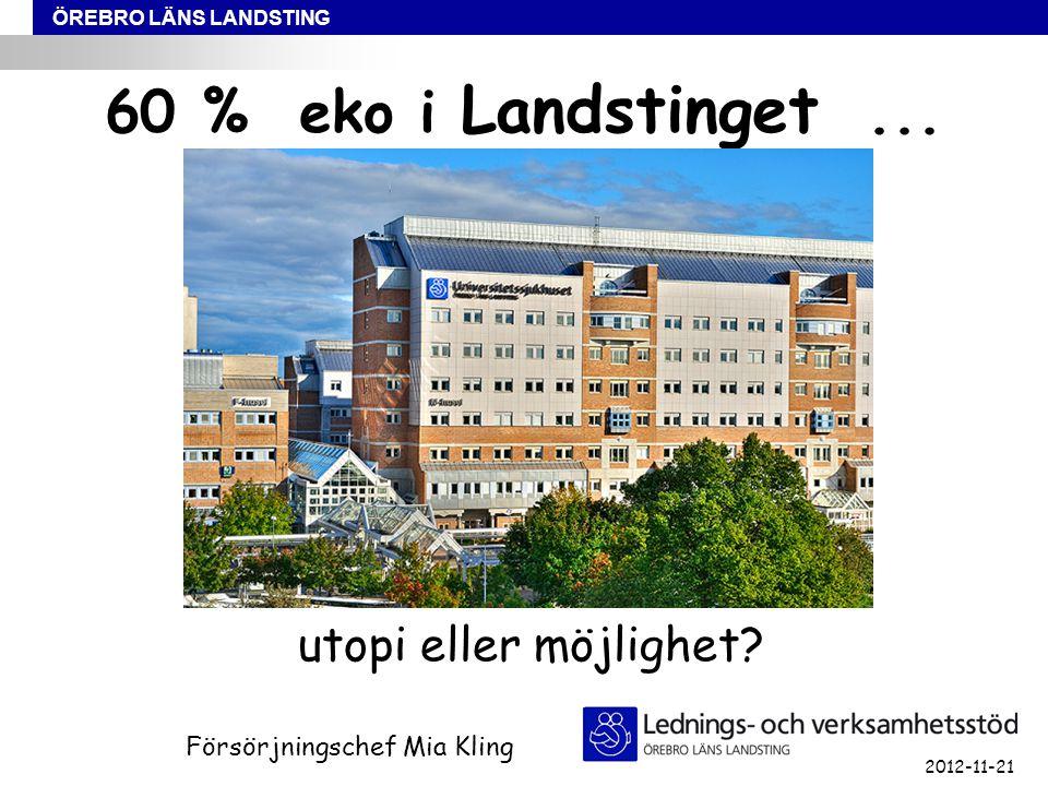 ÖREBRO LÄNS LANDSTING 60 % eko i Landstinget... utopi eller möjlighet.